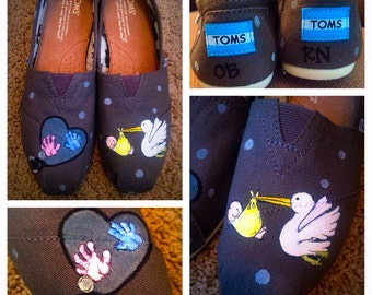 Custom Painted Nursing/OB RN/OBGYN Toms  Designed and personalized just for you!
