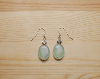 Rustic Translucent Green Earrings.