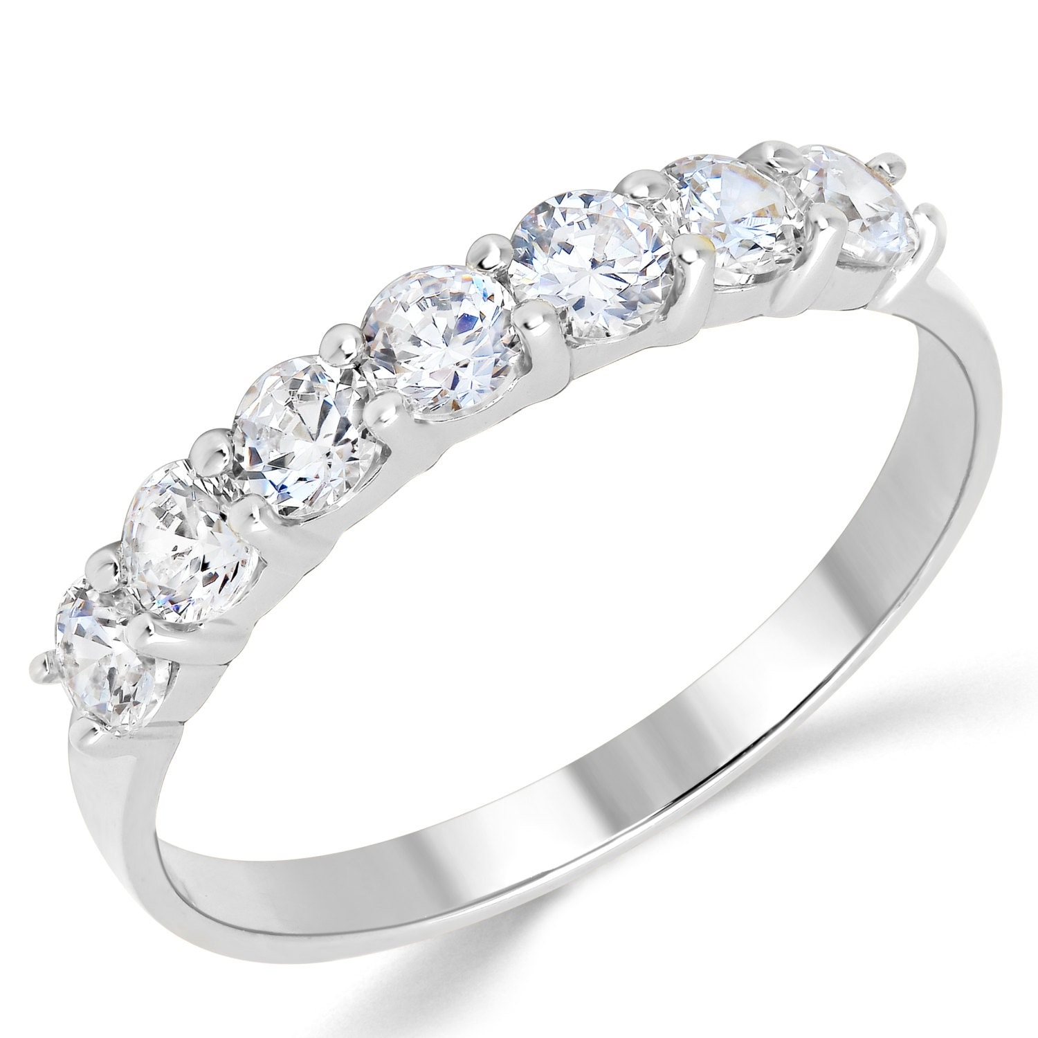 14k solid white gold cz cubic zirconia anniversary ring band