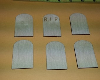 Tombstone shape  - Unfinished Laser Cut wood - Craft Halloween RIP