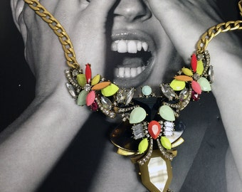 Neon boat stone bib necklace with tortoise, resin, and rhinestones