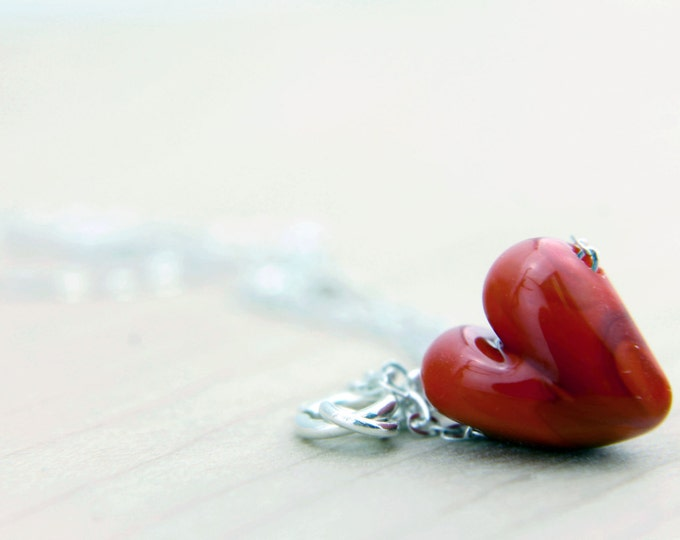 Granate Red /heart shape pendant/ hand made/ sterling silver chain/ lamp work heart pendant by Destellos - Glass Art & Accessories