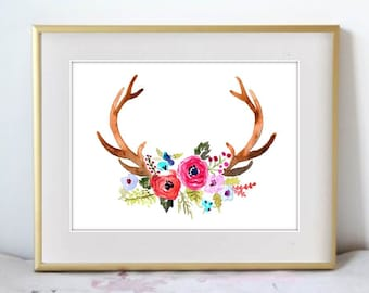 The Antlers, Print from Original Watercolor Painting, Home Decor, Kitchen art, Arrow wall artwork