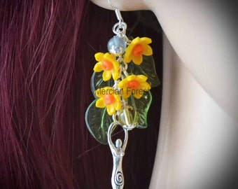 The Eostre Daffodil Earrings - Pagan Jewellery, Wicca, Ostara, Spring, Equinox