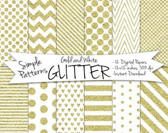 Digital Glitter Paper // Instant Download Gold Glitter Paper // Digital Gold Paper // Gold and White Polka Dot, Stripes, Hearts, Chevron