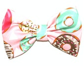 Sugar And Everything Nice Donut Sprinkle Frosting Yummy Printed Fabric Hair Bow Bows Accessories Accessory Made For Girls Teens and Women