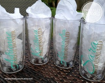Personalized Monogram Bridal Party Tervis Tumbler with Lid 16oz