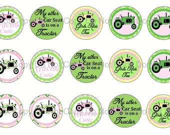 "Digital Download 1"" Circle Tractor Bottle Cap Images"