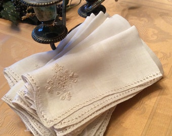 12 Vintage Napkins Fair Condition For Crafts