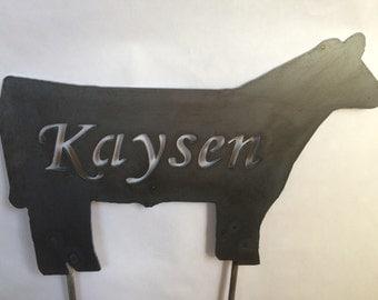 Metal Cow Customized Gardan Yard Stake Decoration