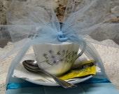 Birthday Tea Lover Gift Set Beautiful Vintage English Bone China Teacup And Saucer Vintage Tea Caddy Teabags Silver Spoon