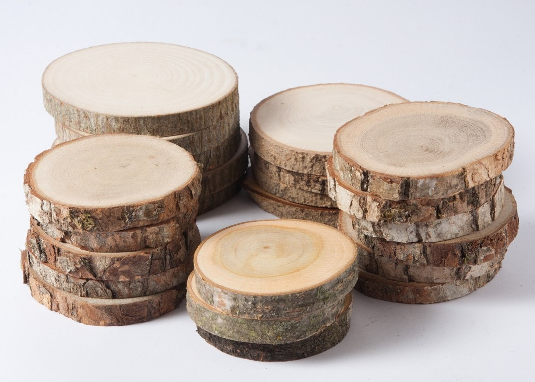 Sale 10 assorted wood slices rustic wood slices for diy for How to slice wood