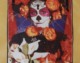 Day of the Dead Skull Wall Hanging 3 by 4 Feet - Ribbons