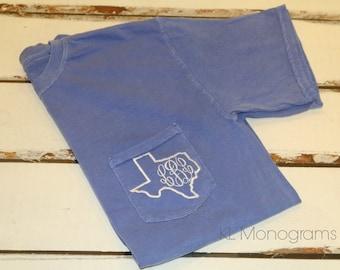 Monogrammed Texas Comfort Colors Pocket TShirt