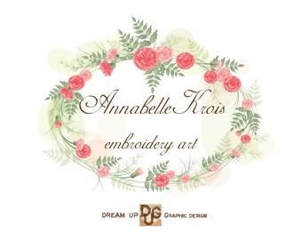 Logo Design - Business  Logo -  Logo  elegant flower - Premade Logo  -  Banner Logo and Watermark - Embroidery Art n. 14  Design   -