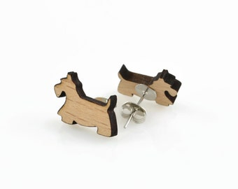 DOG WOOD CUTOUT -  Scottish Terrier Dog Laser Cut Natural Wood Cut-out With Free Earring Backing (1.8cm x 1.3cm)