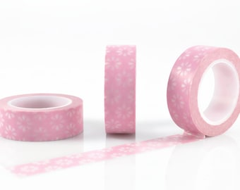 PINK WASHI TAPE - Musk Pink and White Japanese Flower Pattern (10 Metre Roll)