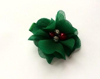 Christmas Hair Clip Barrette - Dark Green Chiffon Flower Clip for Christmas - Girls Christmas Accessory - Christmas Hair Clip for Girls -