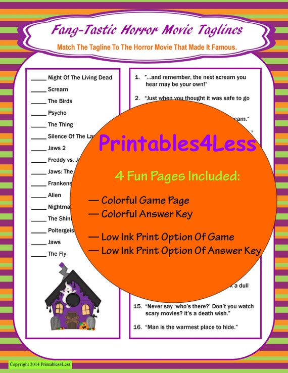 halloween movie trivia game adult halloween game printable game for halloween party teen halloween game spooky game printables 4 less - Halloween Horror Movie Trivia