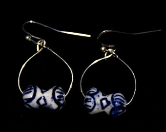ceramic bead hoop earrings