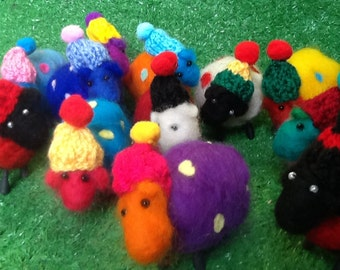 Needle felted 'carnival' spotty and stripey sheep