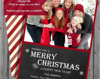 Christmas Card Chalk board style, Printable Christmas Card, Greeting Card, Digital Card, Holiday Greeting Card