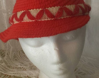 Vintage Red Yarn hat, Valentine's day, gift ideas, accessories
