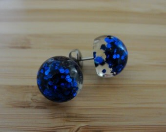 Dark Blue Glitter Earrings