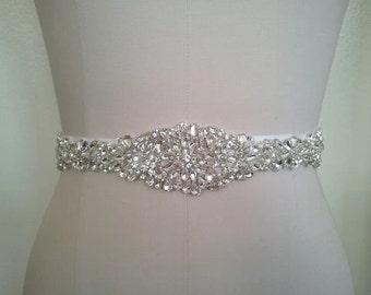 High quality bridal sash, bridal belt, crystal beaded sash