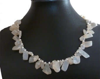 Moonstone nugget bead necklace with white glass pearl spacer beads