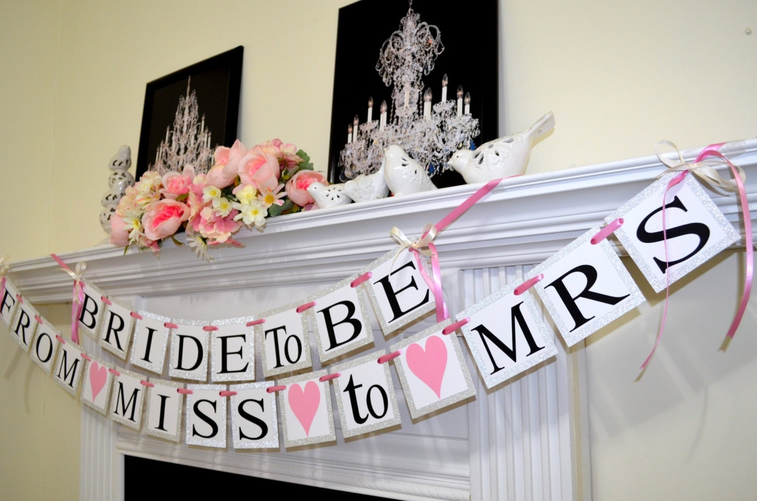 Bride to be from miss to mrs wedding banners bridal shower for Bachelorette party decoration