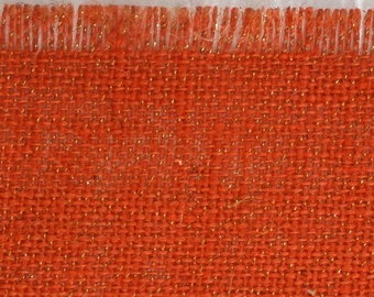 "Orange Glitter Burlap Table Runner 15"" x 72"" , great for the holidays. rustic, fringed edges, variety of colors (BFG-R21)"