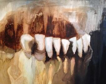 Skeleton Teeth-- original oil painting 24x30 on canvas