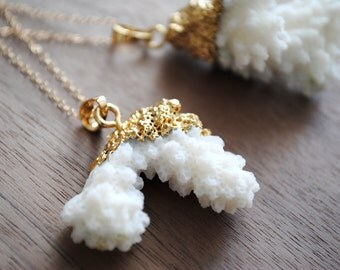 """Coral Reef Gold Plated Necklace, 24k Gold Plating with 30"""" 14k Delicate Gold Filled Chain, Long Necklace, Layered Necklace"""