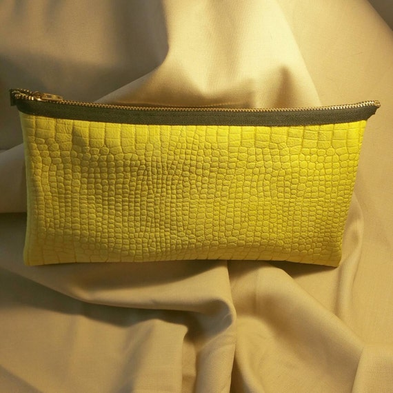 Genuine Leather Yellow Evening Clutch. Embossed detailing.  Zebra lining.