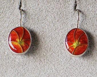 Orange Cloisonné Enamel Earrings