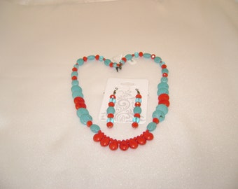 Turquoise and Coral necklace and earring set - 214