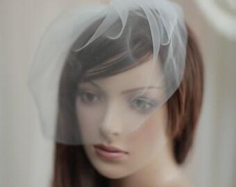 Bridal Birdcage Veil, Tulle Birdcage Blusher Veil----v202
