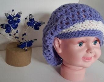 Baby Crochet Puff Beret ~ 3-6 months ~ Double Crochet Flower Trim