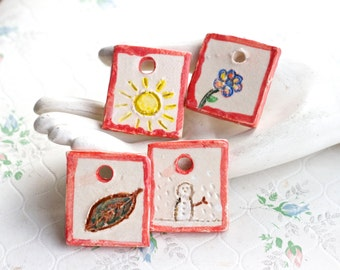 Four Seasons - Tiny Pictures - Miniature Handmade Ceramic Plaques - Spring Summer Autumn Winter