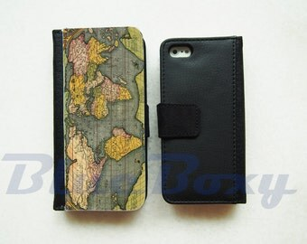 Map of The World Wallet Case for iPhone 7, iPhone 6, iPhoe 6s, iPhone 6 Plus, iPhone 5, iPhone 5s, iPhone 4/4s, Flip Case, Phone Cover