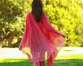 Pink cape hand painted, pink silk tunic dyed