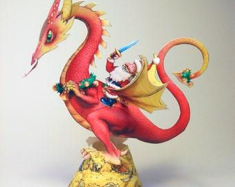 Christmas Dragon card model printable