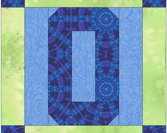 Number 0 Zero Paper  Foundation Quilting Block Pattern