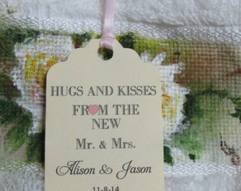 Personalized Favor Tags 2 1/2'', Wedding tags, Thank You tags, Favor tags, Gift tags, Bridal Shower Favor Tags, hug and kisses