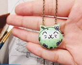 Floral Gato Necklace / Cat Totem / Handmade Polymer Clay