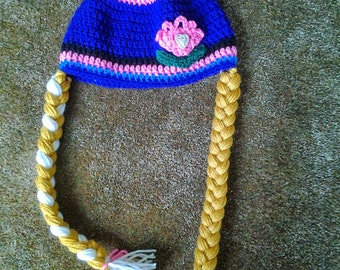 Crochet Tulip Hat with Braids