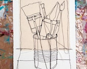 Brushes in the jar Embroidery Sketch or Thread dance