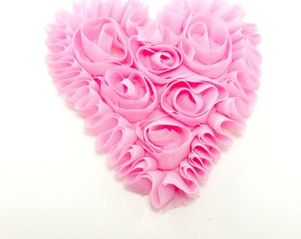 "3"" Pink unfrayed chiffon heart - Wholesale fabric flowers - Valentines hearts - Shabby hearts for headband and hair clips"