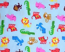 Blue cotton fabric with Zoo Animals printed!